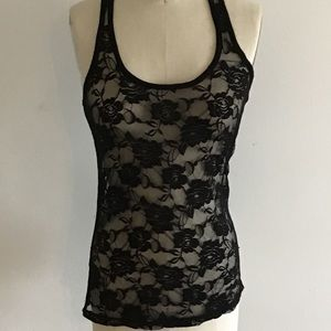 Black Lace Stretchy Tank Top